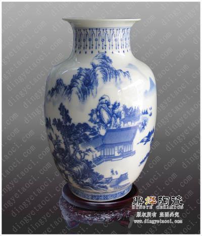 纯手工青花瓷花瓶定制 景德镇青花陶瓷工艺品定做 外事礼品