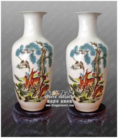 景德镇陶瓷厂家生产批发纯手工粉彩陶瓷花瓶 高档工艺礼品