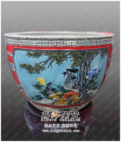厂家直销景德镇陶瓷大缸 鱼缸 装饰工艺缸 花盆 诗画筒 家居装饰