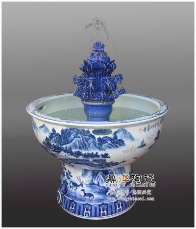 景德镇陶瓷厂家生产陶瓷喷泉空气净化加湿器 客厅摆设工艺品 湿润空