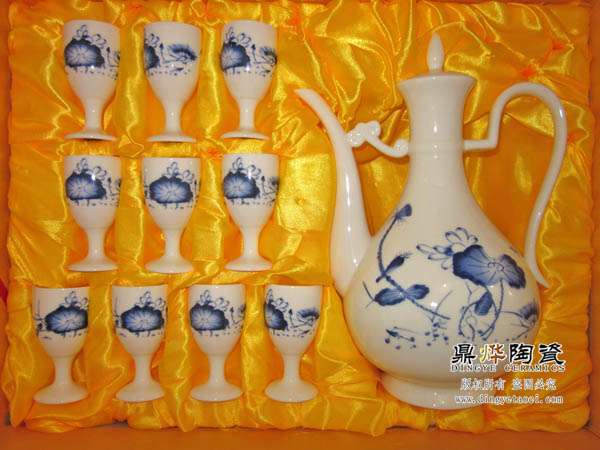 景德镇陶瓷酒具订做 八十大寿贺寿酒具 批发陶瓷高脚酒杯