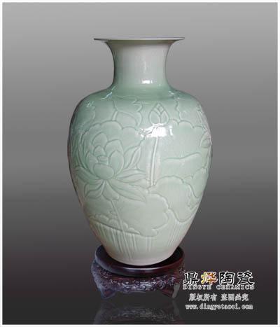 景德镇厂家生产陶瓷微雕花瓶 陶瓷工艺摆件 客厅装饰品