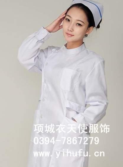 药店工作服 药店护士服 护士服装 护士工作服 冬装偏襟白色护士服