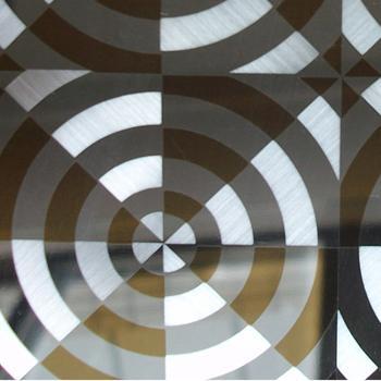 供应彩色不锈钢圆圈+镀色组合工艺板