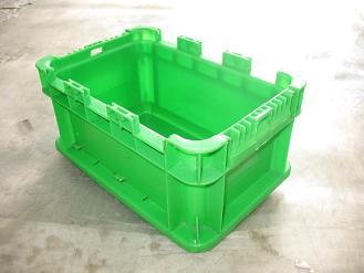 供应上海绿色A型塑料周转箱齿口物流箱