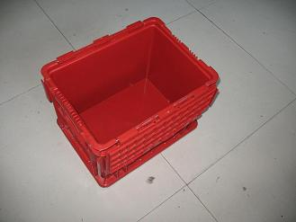 上海通用汽车塑料周转箱ST-C红色可翻盖物流箱上海