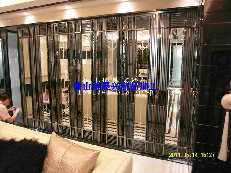 焊接不锈钢屏风电镀黑钛金加工 玫瑰金不锈钢大门包厢门