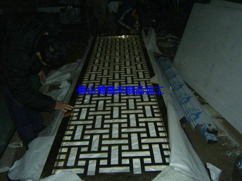 焊接加工不锈钢屏风 酒架镀玫瑰金黑钛金钛金加工