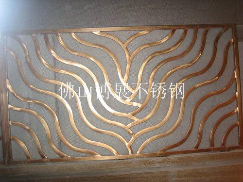 加工不锈钢展厅 酒店屏风隔断真空电镀黑钛金玫瑰金钛金