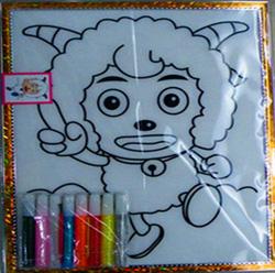 儿童精装20*24cm植绒带框金粉画