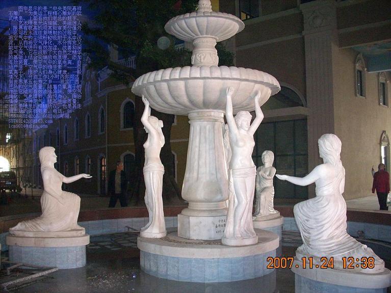 石雕喷泉,石雕花钵亭,鸿福轮石雕小桥流水