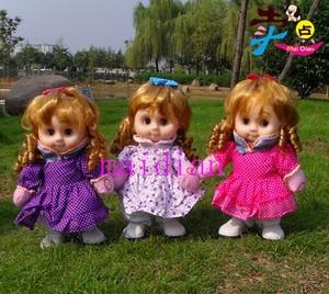 zl1厂家直销 【卷发女孩】 娃娃电动唱歌走路毛绒玩具 芭比娃娃