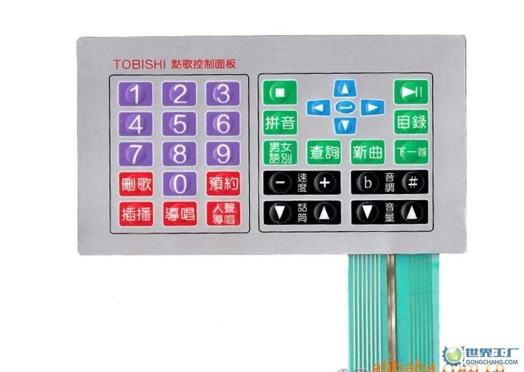 按下薄膜开关,上电路的触点向下变形,与下电路的极板接触导通,手指