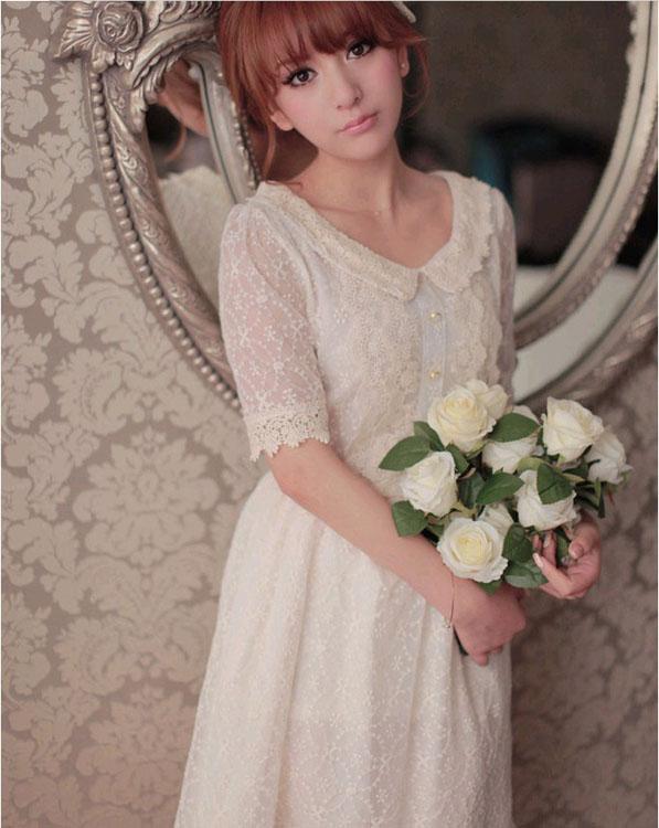 客户来料订做 现货批发 韩版春夏新款全蕾丝裙 修身娃娃领连衣裙