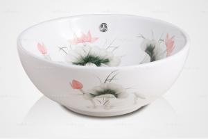 [卓美欧] 中式风格 水墨彩绘荷花艺术陶盆