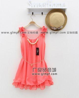 韩版夏季连衣裙批发短袖连衣裙货源批发新款女式彩色T恤批发