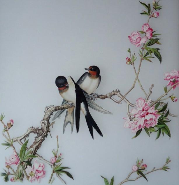 中式装饰陶瓷瓷板画 家居有框画墙壁画 工艺品陶瓷