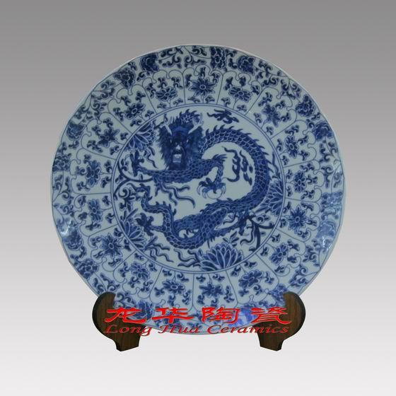 手绘青花瓷赏盘,手绘粉彩瓷盘,景德镇陶瓷