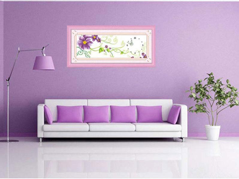 紫色兰花十字绣图片