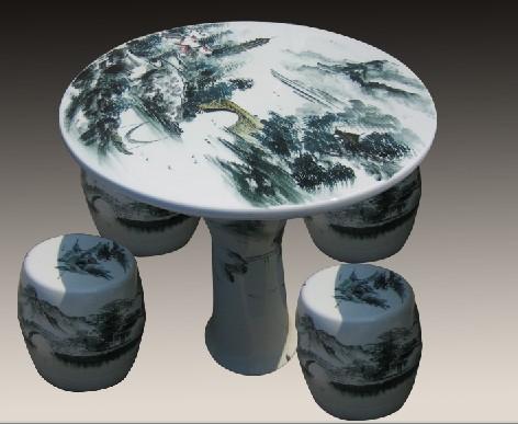 景德镇庭院摆设桌,墨彩山水瓷桌,定做陶瓷礼品