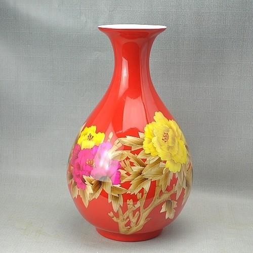 中国红瓷瓶红釉瓷 礼品 瓷瓶 工艺品