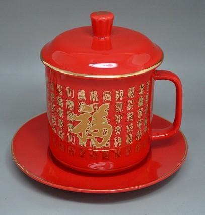 供应高品质红瓷套杯,中国红瓷杯