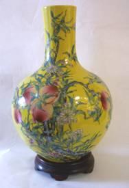 供应景德镇五福九桃天球瓶,陶瓷花瓶