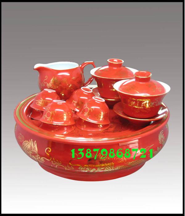 中国红茶具,红瓷茶具-金龙一壶四杯碟送领导老师国红瓷茶具