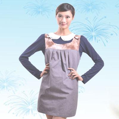 艾子孕妇防辐射服LS-31-22,珍珠灰+花色,金属混纺材料