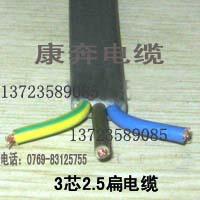 3芯自伸缩门扁线 电动门移动扁电缆