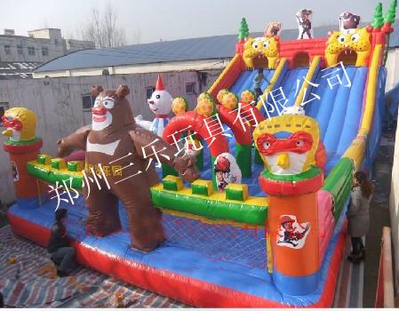 儿童充气跳跳床网络销售推广新款熊出没滑梯