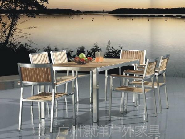 户外休闲桌椅 防腐木桌椅 不锈钢家具 柚木长方桌