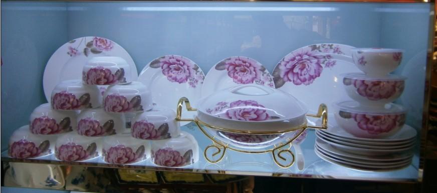 高档骨瓷餐具礼品 青花瓷粉彩陶瓷餐具套装 日用家居餐具
