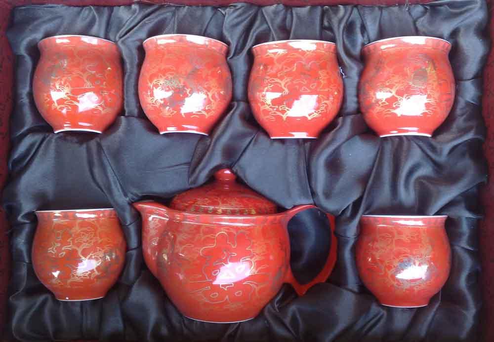 供应高档红瓷茶具 中国红瓷茶具套装 创意骨瓷茶具