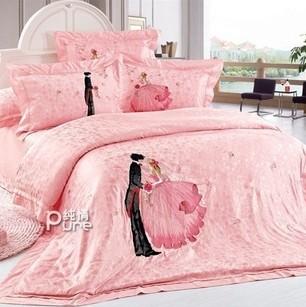 床上用品粉红家纺 婚庆贡缎提绣花四多件套 王子的婚礼 特价
