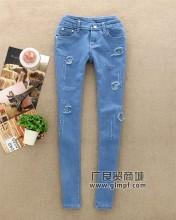 最新款女士牛仔长裤批发厂家牛仔长裤