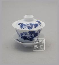 茶碗盖碗三才盖碗 陶瓷工艺礼品杯 青花盖碗杯