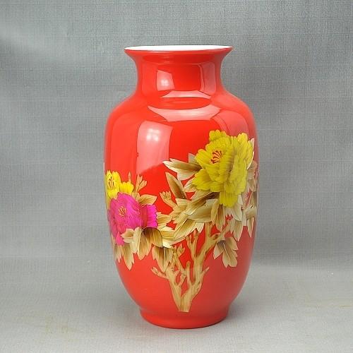 中国红牡丹麦秆花瓶 现代时尚家饰摆件 工艺品摆设