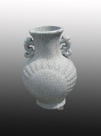 仿古双耳花瓶 开片裂纹釉瓶收藏瓷 陶瓷摆件工艺品