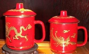 中国红龙纹茶杯 龙年喜庆杯 婚庆杯 龙凤呈祥杯
