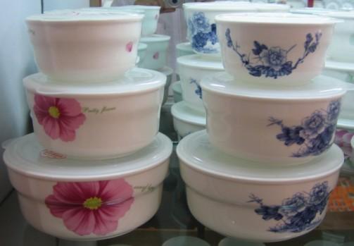 定制陶瓷碗三件套骨瓷保鲜碗 微波炉专用