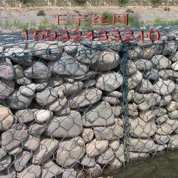 堤坡防护石笼网护岸,基础护脚格宾网箱,生态绿化铅丝石笼网