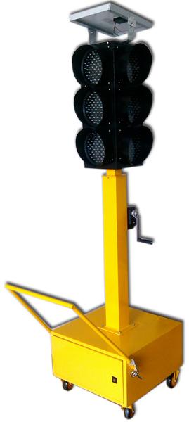 轮子带脚刹的太阳能应急红绿灯,采用太阳能供电,市电辅助充电,光源