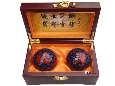 王铁匠老人贺寿祝寿礼品实用 景泰蓝保健球 送老人长辈健身球