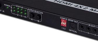 4K*2K HDMI 4进2出带ARC高清视频矩阵(HLHM04