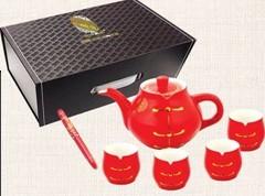 厦门茶具礼品中国红骨瓷