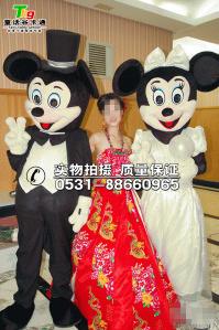 白色礼服版米奇米妮卡通人偶服装出售租赁