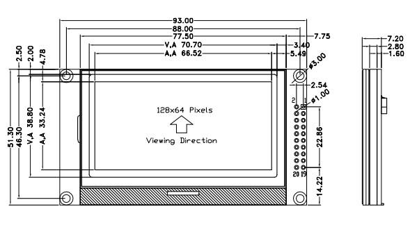 5寸12864小尺寸lcd液晶显示屏