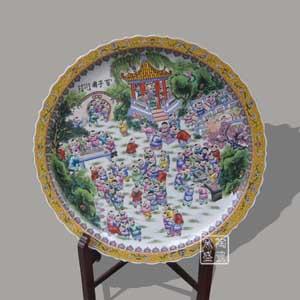 景德镇手绘粉彩瓷盘 百子图瓷盘 客厅装饰摆件