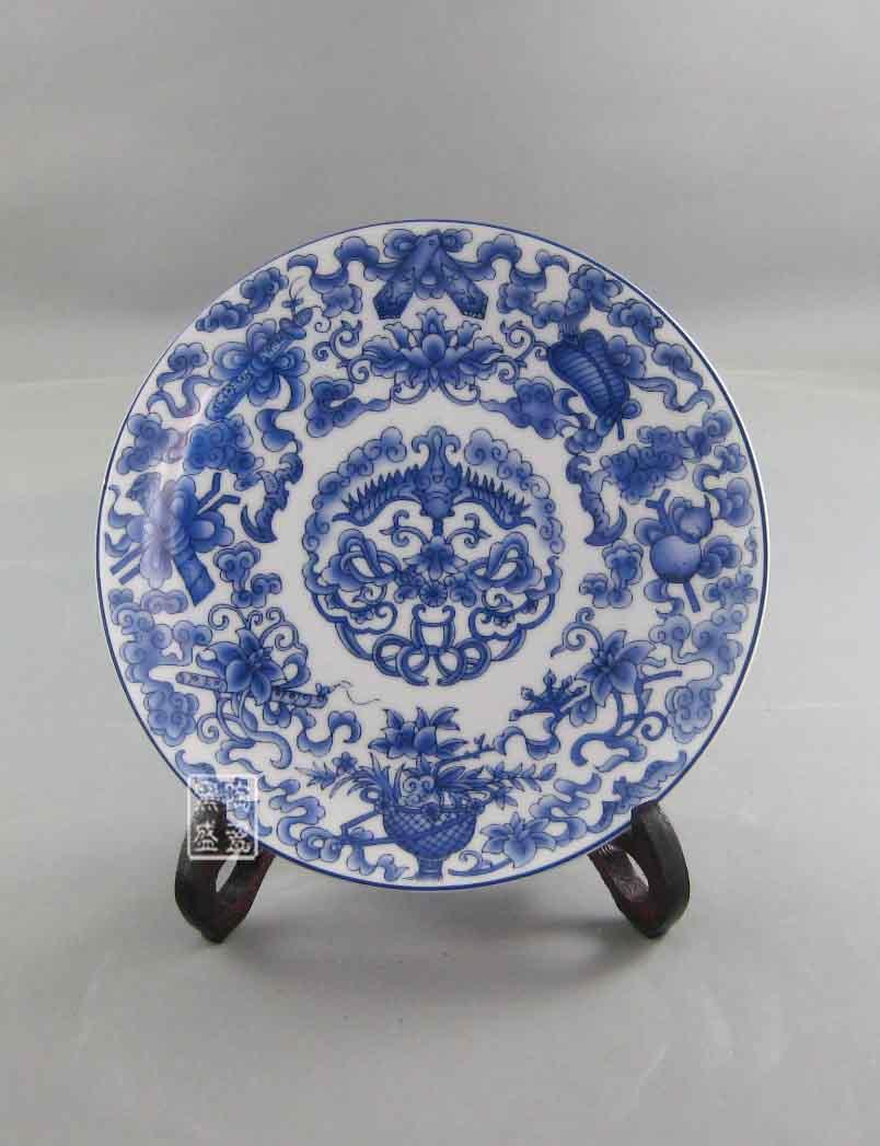 景德镇手绘陶瓷瓷盘 青花瓷盘 古典挂盘摆件